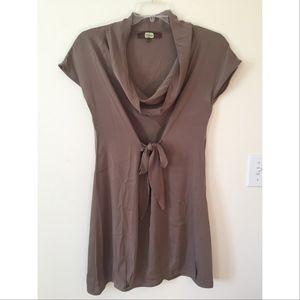 Eva Franco Cowl Neck Silk Dress, Taupe, Size 4